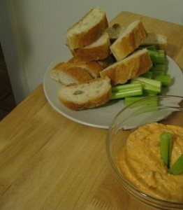 bread and buffalo chicken dip