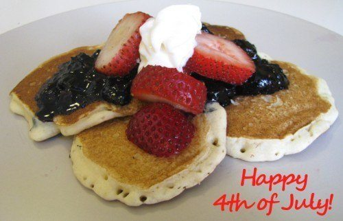 blueberry sauce strawberry pancakes