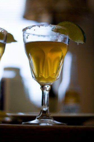 corona with lime salt and hot sauce