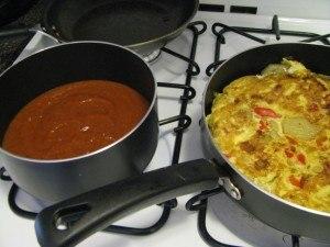 making spanish tortilla and sauce