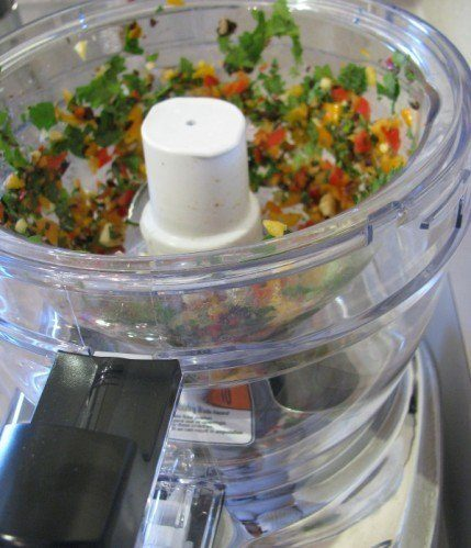 cilantro yogurt dip in the food processor