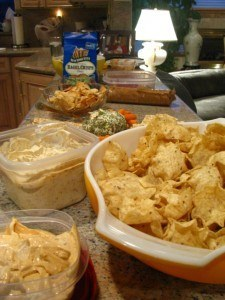 making dips for a party