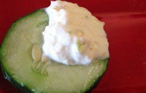 shrimp dip on cucumber