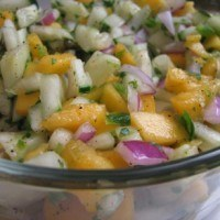Month O' Fruit Salsas: Mango Cucumber