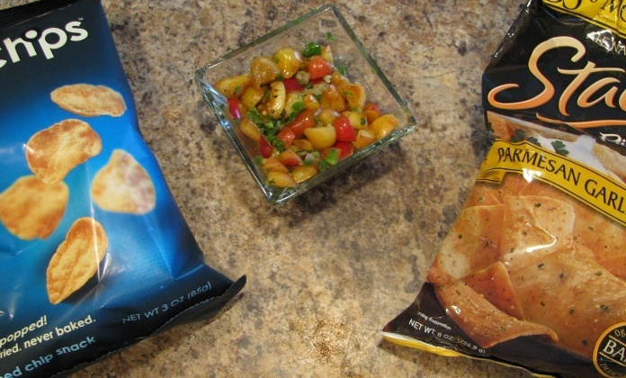 pita chips and pop chips for cherry salsa