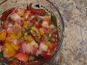 strawberry salsa with yellow peppers
