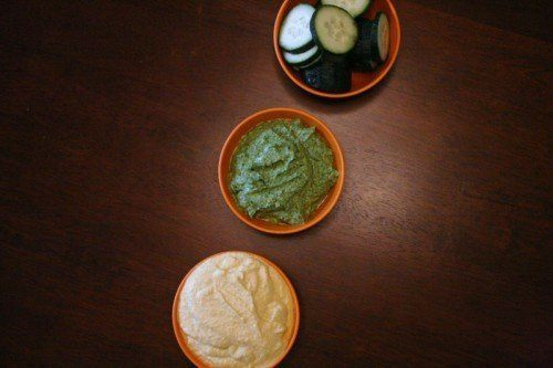 veggie dips in small bowls